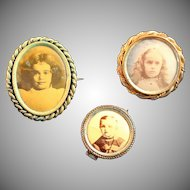 Antique Trio of Real Portraits Pins, Antique Hardware on All