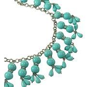 Turquoise Blue Drops & Rhinestone Rondels Vintage Fringe Bib Necklace