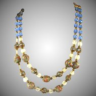 Blue Venetian Glass Wedding Cake 2 Strand Vintage, Clear & Faceted Blue Beads, Brass Spacers