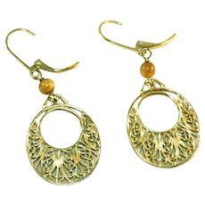 Gold Vermeil Vintage Sterling Silver Filigree Hoop Two Inch Pierced Earrings