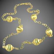 """Gold Vermeil Sterling Silver Spun Gold Balls & Open Links Vintage 32"""" Necklace"""