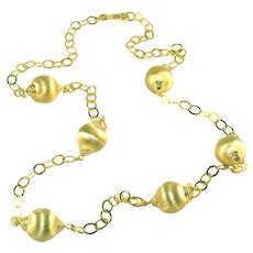 "Gold Vermeil Sterling Silver Spun Gold Balls & Open Links Vintage 32"" Necklace"