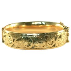 """Over ½"""" Wide Gold Filled Antique Victorian Etched Hinged Bangle with Safety Chain"""