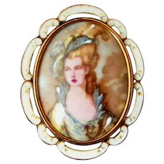 Large Porcelain Portrait Victorian Lady Signed TLM for Thomas L Mott Made in England Vintage Pin, Pendant