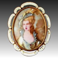 Large Porcelain Portrait Victorian Lady Signed TLM (for Thomas L Mott) Made in England Vintage Pin, Pendant
