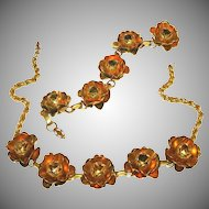 Gold Over Brass Vintage Open Roses Necklace & Bracelet Set