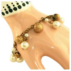 Gold Balls & Pearl Drops on Vintage Upcycled Charm Bracelet
