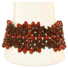 Vintage Handmade Intricate & Elaborate Apple Seed & Red Seed Bracelet, c.1960