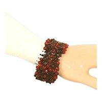 Vintage Handmade Intricate & Elaborate Apple Seed & Red Seed Tapestry Bracelet, c.1960