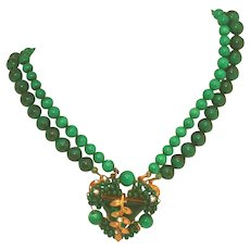 Vintage Attrib Early Miriam Haskell Faux Malachite & Faux Jade Unsigned Choker Necklace