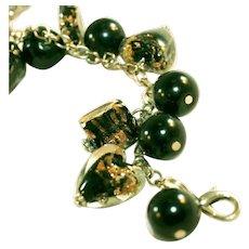 Chunky Foiled Black Glass Hearts, Squares & Black Glass Balls Vintage Charm Bracelet