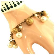 Beautiful Vintage Pearl & Gold Ball Charm Bracelet