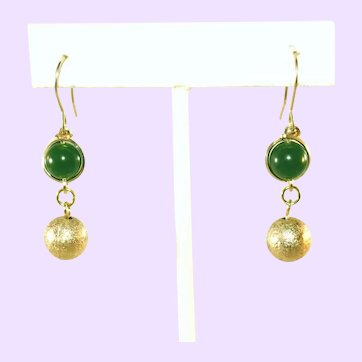 Vintage Caged Green Jade Glass & Gold Crinkled Ball Vintage Drop Pierced Earrings