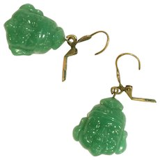 Vintage Jade Green Pressed Glass Laughing Buddha Drop Pierced Earrings