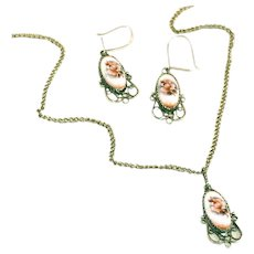Russian Finift Enamel Silver Flower Vintage Pendant Necklace, & Earrings on Wires Set
