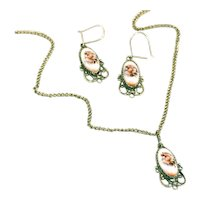 Russian Finift Enamel Silver Flower Vintage Pendant Necklace, & Earrings on Wires Set
