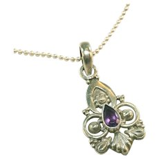Sterling Silver & Amethyst Vintage Pendant on Vintage Sterling Silver Beaded Chain
