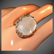 Enchanted Garden Extra Large Sterling Silver Well Articulated Mother of Pearl Vintage Ring, Size 7