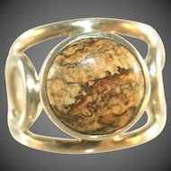 Sterling Silver Vintage Petrified Wood or Agate Modernistic Ring, Signed, Size 10