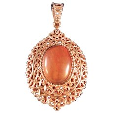 Rose Gold Vermeil Sterling Silver Large Tiger Eye Pendant, Large Bail