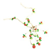 """Summer Fun Vintage Early Plastic White Beads & Peach Colored Roses 24"""" + Drop, Necklace"""