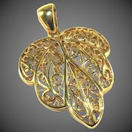 """Gold Leaf TAOR Italian Vermeil Sterling Silver Large Vintage Pendant with Large Bail 1 ¾"""""""