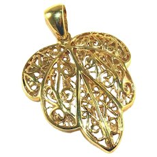 Gold Leaf TAOR Italian Vermeil Sterling Silver Large Vintage Pendant with Large Bail 1 ¾""
