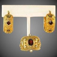 Gold Vermeil Sterling Silver Gemstone Ring  (Size 8) & Hoop Earrings, Vintage Etruscan Revival Set