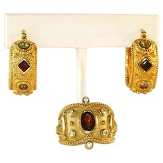 Gold Vermeil Sterling Silver Gemstone Ring  (Size 8) & Hoop Earrings, Vintage Etruscan Revival Set