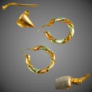 """Yellow & White Gold Vermeil Sterling Silver Vintage Large 1 3/4"""" Hoop Earrings, Pierced Ears"""