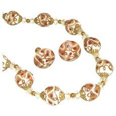 Venetian Glass White Wedding Cake Beads Vintage Necklace, Earring Set