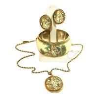 Whiting & Davis Signed Vintage Wide Cuff Portrait Bracelet, Earrings, Necklace Set, Parure