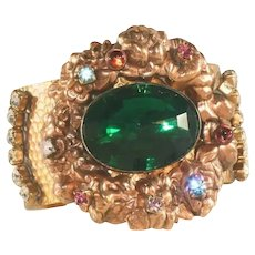 Extra Wide Vintage Costume Rose Gold Color Finish Cuff Bracelet, Repousse Work, Large Green Center Stone
