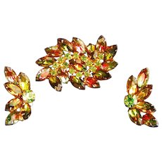 Watermelon & Peridot Prong Set Rhinestone Pin Earrings Set, c.1960