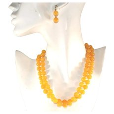 Yellow Jade Jadeite Hand Knotted Vintage 32 Inch Necklace, Matching Pierced Earrings