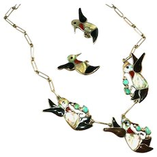 Zuni Vintage Signed Carlene Leekity Hummingbird Inlaid Sterling Silver Necklace Earring Set