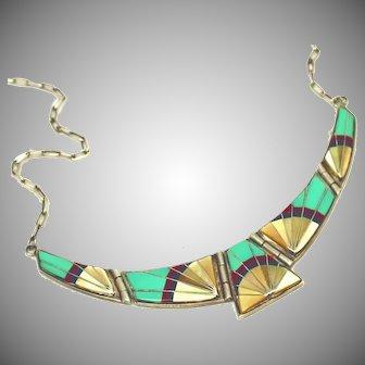 Semi-Precious Inlaid Vintage Sterling Silver Native American Zuni Necklace