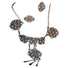 Zuni Signed Vintage Needlepoint Sterling Silver & Turquoise Necklace & Earrings