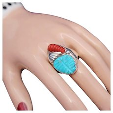 Carved Red Coral & Turquoise Heavy Sterling Silver Vintage Native American Zuni Ring, c.1960's – 70's