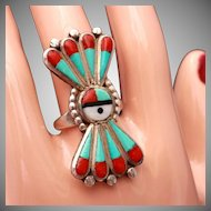 Sterling Silver Zuni Inlaid Stones in Vintage Sun Face Ring, Size 6