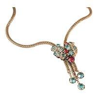 Vintage Rhinestone Lariat Silvertone Necklace, c.1940