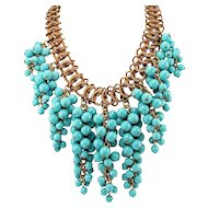 Miriam Haskell Drippy Bib Necklace ~ Brass and Turquoise Glass Beads ~ 1930s-40s