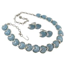 Coro necklace~earring set, moonglow thermoset plastic, '50s