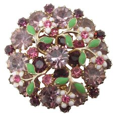 WEISS ~ Dimensional Rhinestone and Enamelled Brooch ~ Floral Overlay