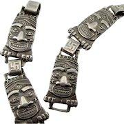 RARE 1920s-30s Totem Pole Whirling Log Bracelet ~ Sterling ~ Native American