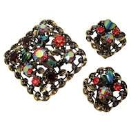 Austria ~ Heart-shaped Art Glass Stones ~ Vintage Brooch and Earrings Set