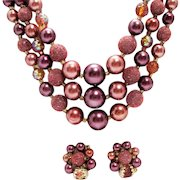 Mauve & Copper Glass Pearls and Sugar Beads ~ 1950s Triple Strand Necklace and Earrings Set