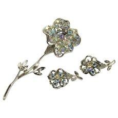 Coro Pegasus Set ~ Rhinestone Flower Brooch and Earrings ~ Book Piece ~ Vintage