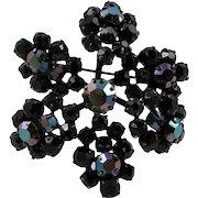Flower Cluster Brooch ~ Signed Triad ~ Japanned Metal ~ Dimensional ~ Vintage