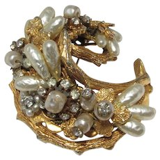Hattie Carnegie Brooch ~ Haskell Style ~ Wired Faux Pearls and Rose Montees ~ Signed